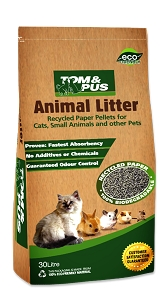 Tom & Pus Recycled Paper Animal Litter