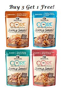 Wellness Cat Core Simply Shreds Buy 3 Free 1