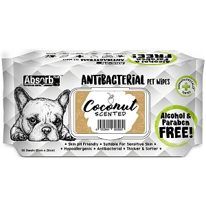 Absorb Plus Anti Bacterial Pet Wipes (Coconut)