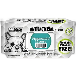 Absorb Plus Anti Bacterial Pet Wipes (Peppermint)