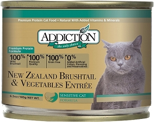 Addiction Canned Cat Food, NZ Brushtail & Vegetables Entree - Grain Free