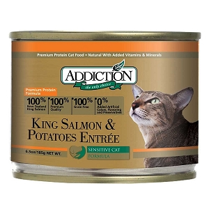 SALE - Addiction Canned Cat Food, King Salmon & Potatoes Entree - Grain Free - 15th Jan 2019 expiry