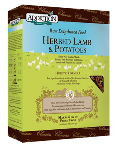 Addiction Raw Dehydrated Grain Free Herbed Lamb & Potatoes