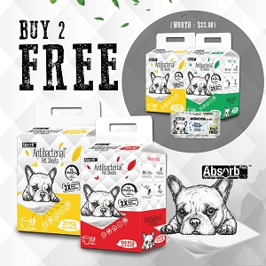 [Get 2packs FREE 2 more packs + 1 Free Wipes] Absorb Plus Antibacterial Pet Sheet