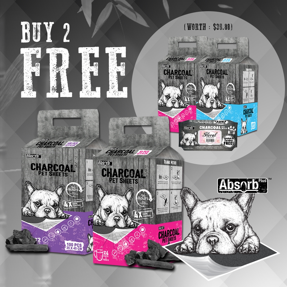[Get 2packs FREE 2 more packs + 1 Free Wipes] Absorb Plus Charcoal Pet Sheet