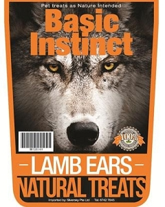 Basic Instinct Lamb Ears Natural Dog Treats