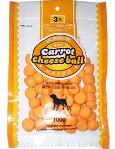 Bow Wow Carrot Cheese Ball Dog Treat