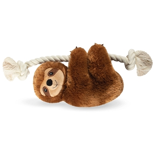 Fringe Studio Stanley Brown Sloth on a Rope Dog Squeaker Plush Toy