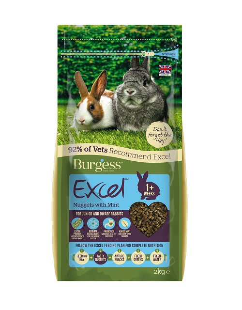 Burgess Excel Nuggets with Mint for Junior and Dwarf Rabbits 2kg
