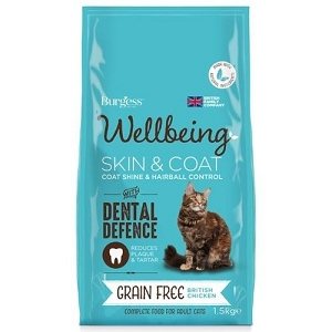 Burgess Wellbeing Grain Free Skin & Coat Adult Dry Cat Food