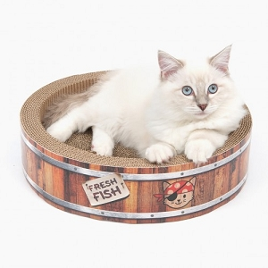 Catit Play Pirates Barrel Scratcher with Catnip