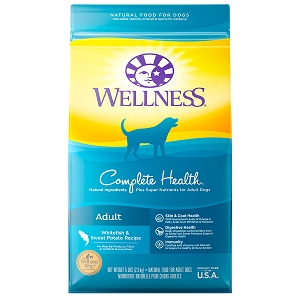 [UP TO 30% OFF w/ FREE TREATS for Large bag] Wellness Complete Health Adult Whitefish & Sweet Potato Meal Dry Dog Food