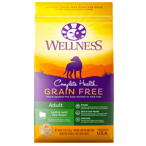 [UP TO 30% OFF w/ FREE TREATS for Large bag] Wellness Grain Free Lamb & Lamb Meal