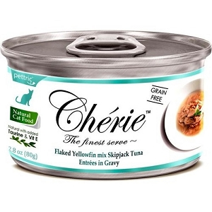 Cherie Canned Flaked Yellowfin Mix Skipjack Tuna Entrées In Gravy Cat Food