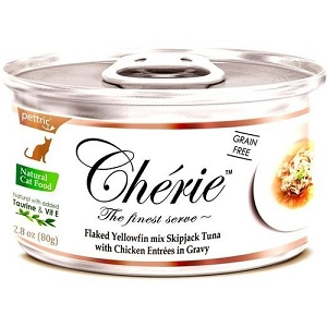Cherie Canned Flaked Yellowfin Mix Skipjack Tuna With Chicken Entrées In Gravy Cat Food