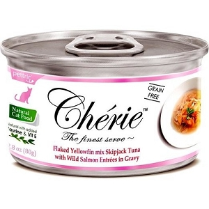 Cherie Canned Flaked Yellowfin Mix Skipjack Tuna With Wild Salmon Entrées In Gravy Cat Food