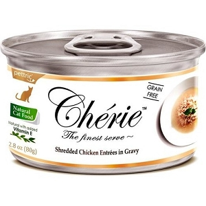 Cherie Canned Shredded Chicken Entrées in Gravy Cat Food