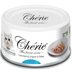 Cherie Canned Tuna Topping Snapper in Gravy - Hairball Control Series Cat Food