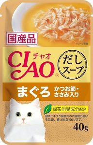 Ciao Clear Soup Pouch – Chicken Fillet & Maguro Topping Dried Bonito