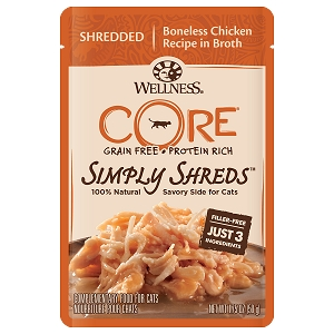 Wellness Core Simply Shreds Meal Topper- Shredded Boneless Chicken Recipe in Broth 1.75oz