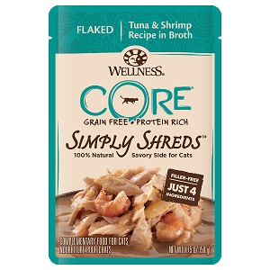 Wellness Core Simply Shreds Meal Topper- Flaked Tuna & Shrimp Recipe in Broth 1.75oz