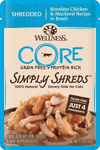 Wellness Core Simply Shreds Meal Topper- Shredded Boneless Chicken & Mackerel Recipe in Broth 1.75oz