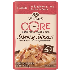 Wellness Core Simply Shreds Meal Topper- Flaked Wild Salmon & Tuna Recipe in Broth 1.75oz