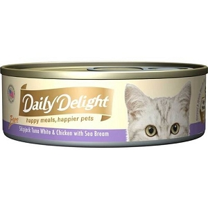 Daily Delight Canned Pure Skipjack Tuna White & Chicken with Sea Bream Cat Food