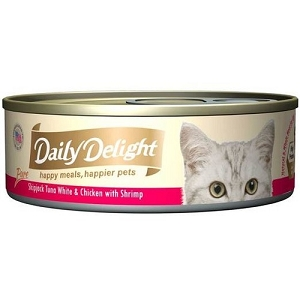 Daily Delight Canned Pure Skipjack Tuna White & Chicken with Shrimp Cat Food