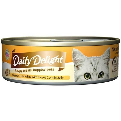 Daily Delight Canned Skipjack Tuna White with Sweet Corn in Jelly Cat Food