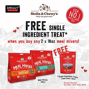 [JULY 2020 PROMO - Buy 2 Free Lamb Heart] Stella & Chewy's Freeze Dried Meal Mixers 18oz