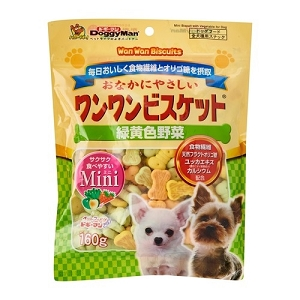 DoggyMan Bowwow Biscuit Mini Green & Yellow Vegetable 160gm