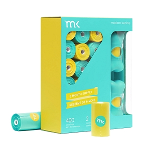 Modern Kanine 400 Scented Turquoise & Yellow Poop Bags with 2 Dispensers