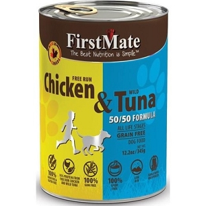 FirstMate Grain & Gluten Free 50/50 Canned Free Run Chicken with Wild Tuna Formula
