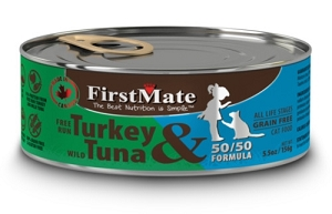 FirstMate Grain & Gluten Free Canned 50/50 Free Run Turkey & Wild Tuna Formula Cat Food