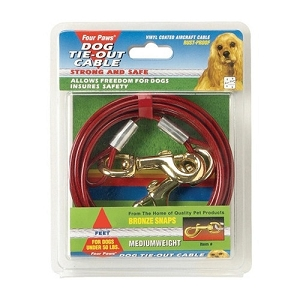 Four Paws Tie-Out Cable Medium Red 30ft