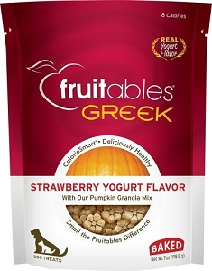Fruitables Greek Strawberry Yogurt Flavor Crunchy Dog Treats 7oz