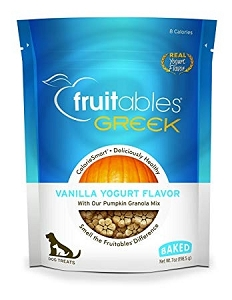 Fruitables Greek Vanilla Yogurt Flavor Crunchy Dog Treats 7oz