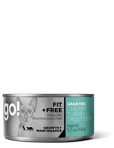 GO! FIT + FREE Canned Chicken, Turkey + Trout Stew Recipe Cat Food