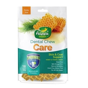 Happi Doggy Dental Chew Care Skin & Coat Support Fennel Grass & Honey