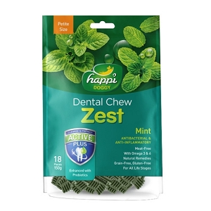 Happi Doggy Dental Chew Zest Petite Mint 2.5inch