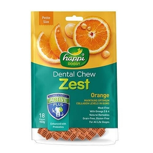 Happi Doggy Dental Chew - Zest Petite Orange 2.5inch