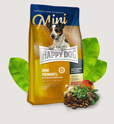 HAPPY DOG Supreme Mini Piemonte Grain Free Duck, Seafish & Sweet Chestnut Dry Dog Food