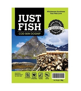 Just Fish Cod Skin Dognip All Natural & Hypo-Allergenic Treats For Dogs & Cats