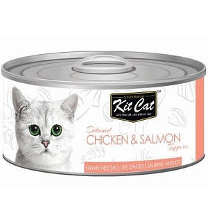 KitCat Canned Deboned Chicken & Salmon Toppers Cat Food 80gm