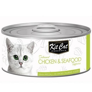 KitCat Canned Deboned Chicken & Seafood Toppers Cat Food 80gm