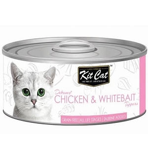 KitCat Canned Deboned Chicken & Whitebait Toppers Cat Food 80gm