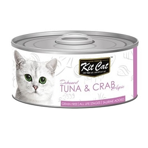 KitCat Canned Grain-Free Deboned Tuna & Crab Aspic Cat Food 80gm
