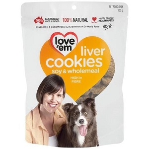 Love'em Soy & Wholemeal Liver Cookies Dog Treats 450gm