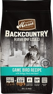 Merrick Grain Free Backcountry Raw Infused Game Bird Recipe Dry Dog Food